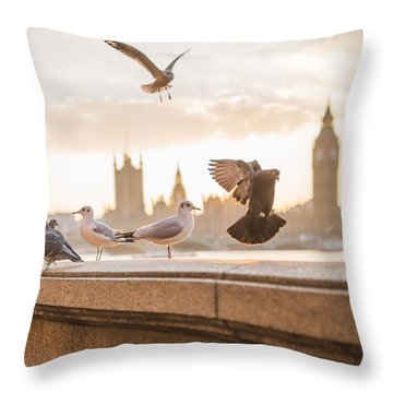 Throw Pillow featuring the photograph Doves And Seagulls Over The Thames In London by Top Wallpapers