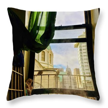 Doves In My Window Throw Pillow