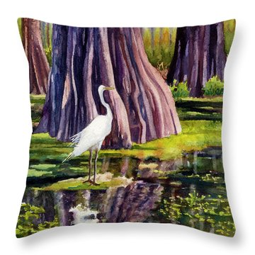 Down In The Swamplands Throw Pillow