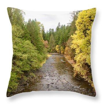 Down The Molalla Throw Pillow