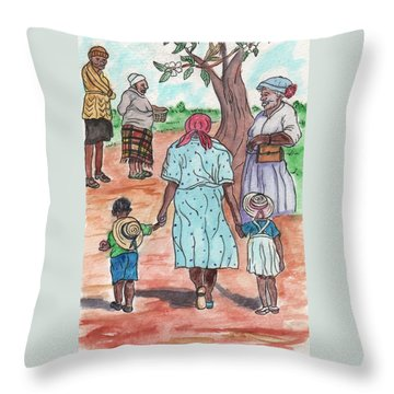 Down The Red Road And Past The Magnolia Tree Throw Pillow