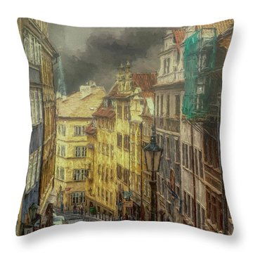 Downhill, Downtown, Prague Throw Pillow