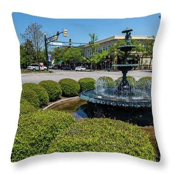 Downtown Aiken Sc Fountain Throw Pillow