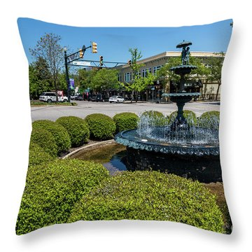 Downtown Aiken Sc Fountain Throw Pillow