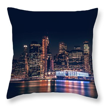 Throw Pillow featuring the photograph Downtown At Night by Dheeraj Mutha