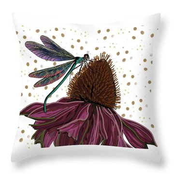 Dragon Fly And Echinacea Flower Throw Pillow