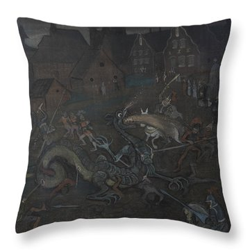 Throw Pillow featuring the drawing Dragon  by Ivar Arosenius