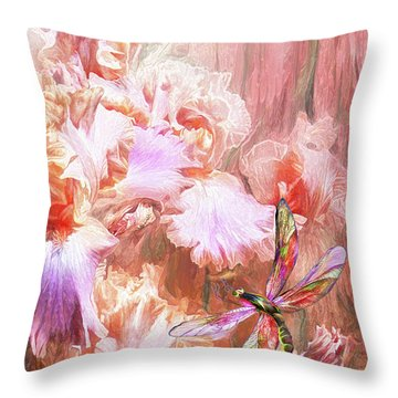 Dragonfly And Iris Throw Pillow