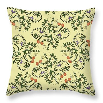 Throw Pillow featuring the painting Dragonfly Peaches by Belinda Landtroop