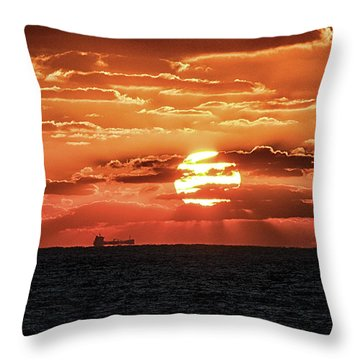 Throw Pillow featuring the photograph Dramatic Atlantic Sunrise With Ghost Freighter by Bill Swartwout Fine Art Photography