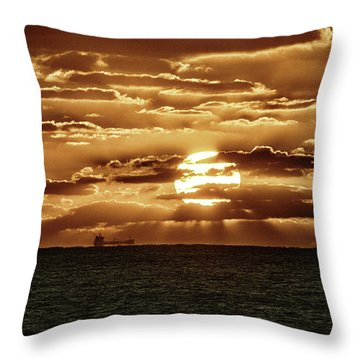 Throw Pillow featuring the photograph Dramatic Atlantic Sunrise With Ghost Freighter In Goldtone by Bill Swartwout Fine Art Photography