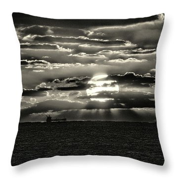 Throw Pillow featuring the photograph Dramatic Atlantic Sunrise With Ghost Freighter In Monochrome by Bill Swartwout Fine Art Photography