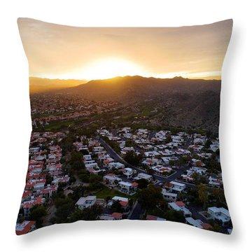 Dramatic South Mountain Sunset Throw Pillow