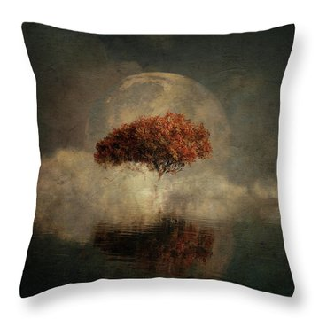 Throw Pillow featuring the digital art Dream Landscape With Full Moon by Jan Keteleer