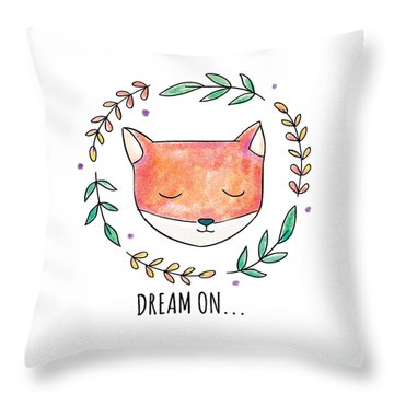 Dream On - Boho Chic Ethnic Nursery Art Poster Print Throw Pillow