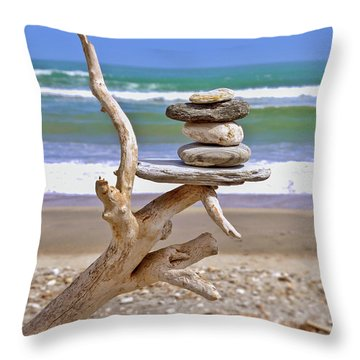 Drift Wood And Pebbles Throw Pillow