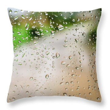 Drops Of Rain On An Autumn Day On A Glass. Throw Pillow
