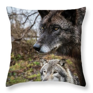 Dual Wolves Throw Pillow