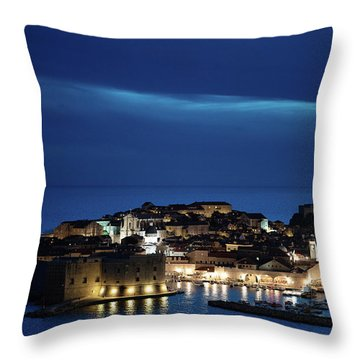 Dubrovnik Old Town At Night Throw Pillow