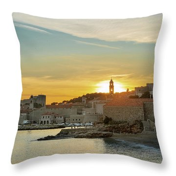 Dubrovnik Old Town At Sunset Throw Pillow