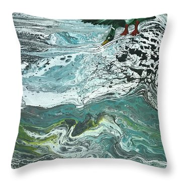 Duck At The River Throw Pillow