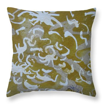 Throw Pillow featuring the drawing Dull Yellow With Masking Fluid by AJ Brown