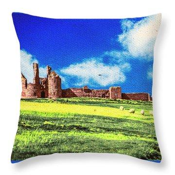 Dunstanburgh Castle In Oil Throw Pillow