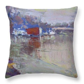 Dusk At Tonawanda Canal Throw Pillow