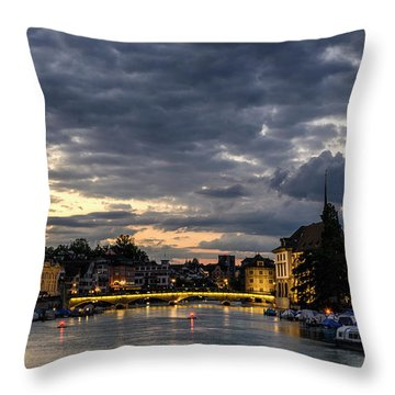 Dusk At Zurich Throw Pillow