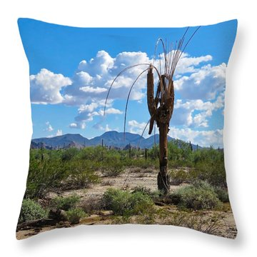 Dying Saguaro In The Desert Throw Pillow