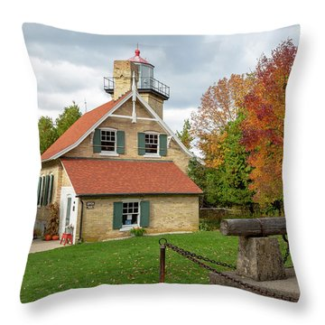 Throw Pillow featuring the photograph Eagle Bluff Lighthouse by Adam Romanowicz