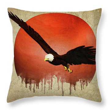 Throw Pillow featuring the digital art Eagle Flying by Jan Keteleer