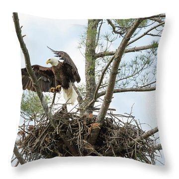 Eagle Landing Throw Pillow
