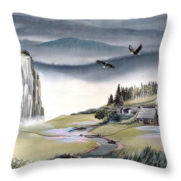 Throw Pillow featuring the painting Eagle View by Deleas Kilgore