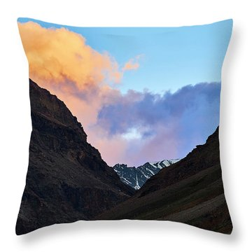 Throw Pillow featuring the photograph Early Morning Clouds In Sarchu by Whitney Goodey