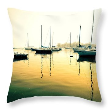 Early Mornings At The Harbour Throw Pillow