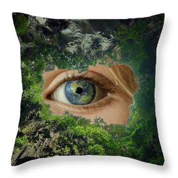 Earth Is Watching You Throw Pillow