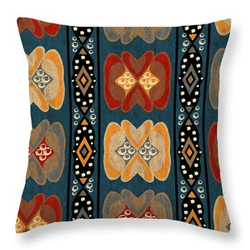 East African Heart And Diamond Stripe Pattern Throw Pillow