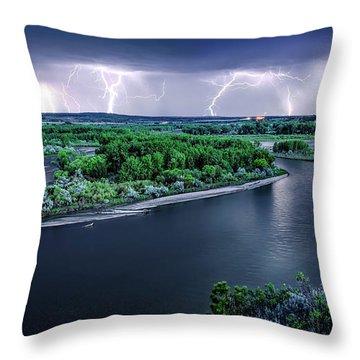 East Montana Lightning Storm Throw Pillow