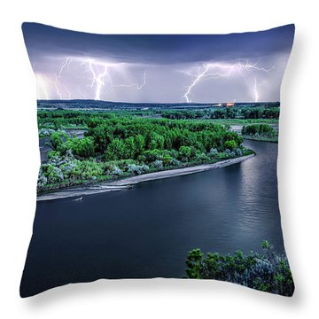 East Montana Lightning Storm Throw Pillow