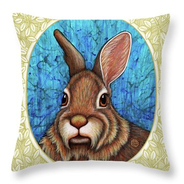 Eastern Cottontail Portrait - Cream Border Throw Pillow