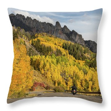 Throw Pillow featuring the photograph Easy Autumn Rider by James BO Insogna