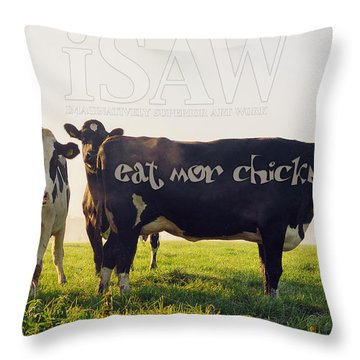 Throw Pillow featuring the digital art Eat Mor Chickn by ISAW Company