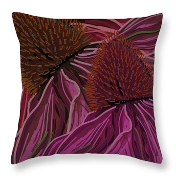 Echinacea Flower Blues Throw Pillow