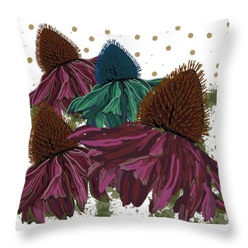 Echinacea Flower Skirts Throw Pillow
