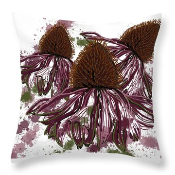 Echinacea Flowers Line Throw Pillow