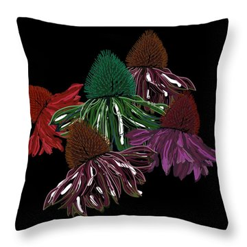 Echinacea Flowers With Black Throw Pillow