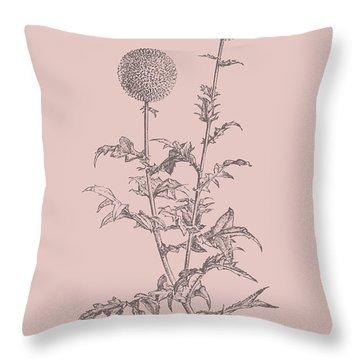 Echinopos Blush Pink Flower Throw Pillow