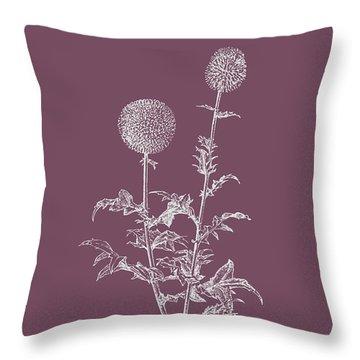 Echinopos Purple Flower Throw Pillow