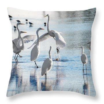 Egret Ballet 1400 Throw Pillow